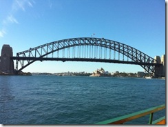 Sydney harbour bridge in the spring sunshine
