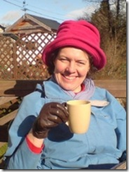 Juliet, enjoying the fine British weather(!) with a nice cup of tea